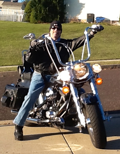 Tom on his Harley Davidson Fat Boy