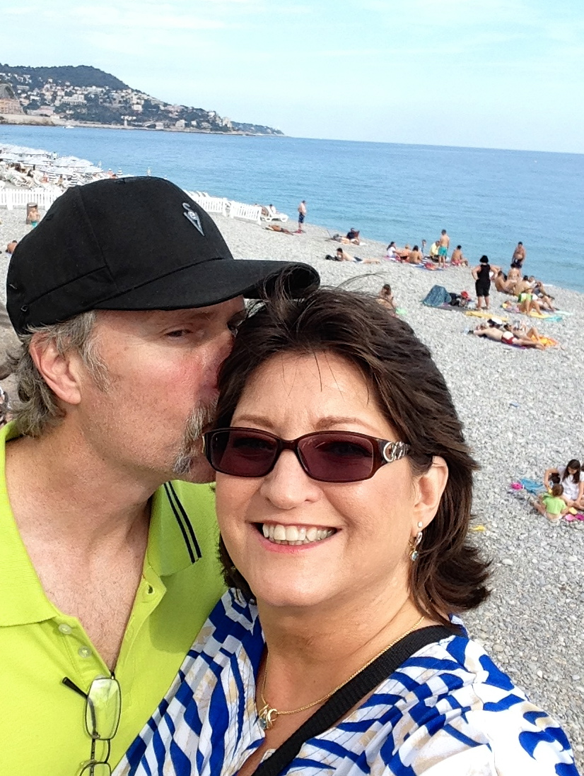 Tom and Nancy on the beach at Côte d'Azur