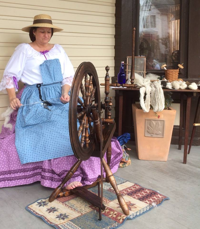 Nance spinning wool at the Rupp House in Gettysburg Pa