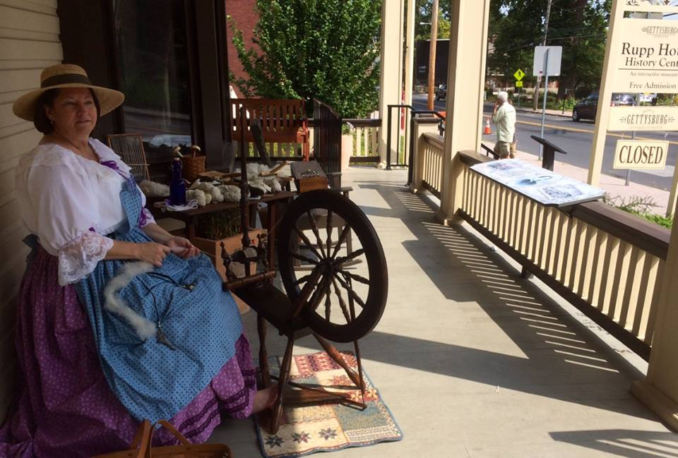 A view of the porch at the historic Rupp House in Gettysburg PA